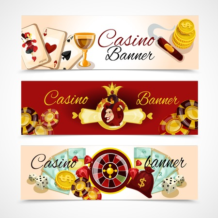 hotel casino: Casino horizontal banner set with roulette dice blackjack poker elements isolated vector illustration