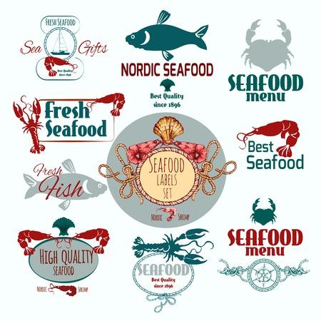 prawns: Seafood restaurant menu fresh fish crabs and prawns label set isolated vector illustration Illustration