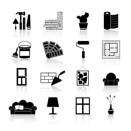 indoors: Interior design and art decoration and room indoors improvement icons black set isolated vector illustration Illustration