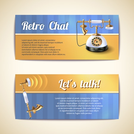rotary dial: European style old fashioned antique rotary dial classic desk telephone horizontal banners set abstract isolated vector illustration