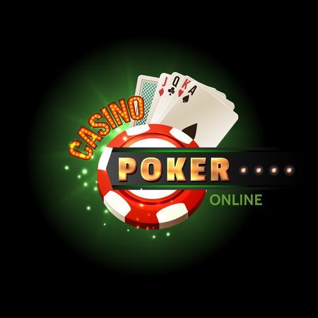 poker: Casino online poker traditional cards set for safe gambling getting cash money internet design poster vector illustration