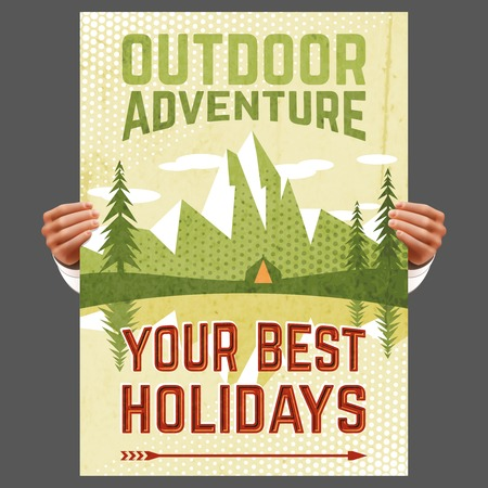 sport background: Your best outdoor holiday adventure hiking tours travel agency advertisement poster with forest tent abstract vector illustration