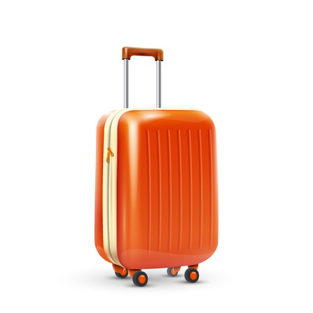 suitcase packing: Orange travel plastic suitcase with wheels realistic on white background vector illustration