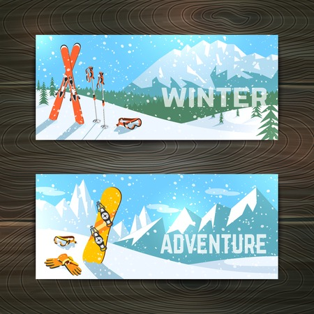 ski goggles: Winter  holidays alpine skiing  landscape with goggles gloves and poles horizontal banners set abstract isolated vector illustration