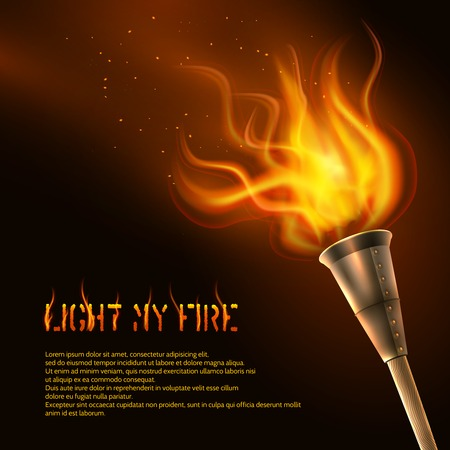 torch light: Torch flame realistic background with light my fire text vector illustration