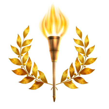 Realistic fire torch and gold laurel wreath victory and success concept vector illustration