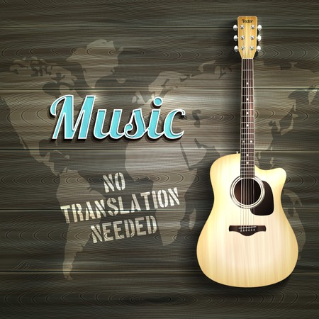 Realistic acoustic guitar on wooden background with world map vector illustration