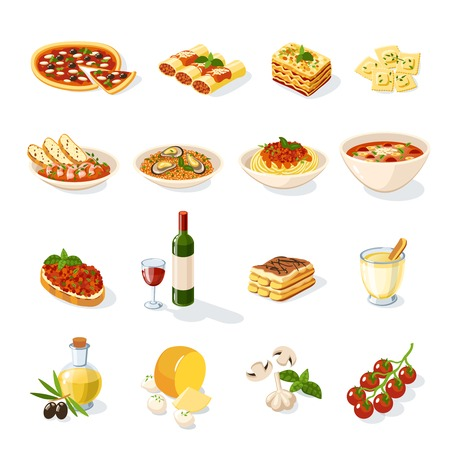 italian pizza: Italian food set with pizza pasta cheese tomato isolated vector illustration