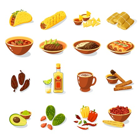 of food: Mexican traditional food set with meat avocado tequila corn isolated vector illustration