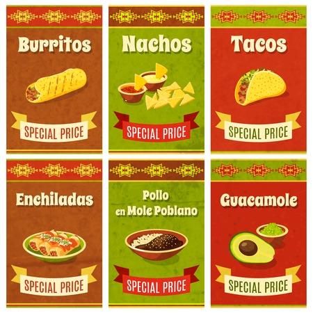 promo: Cibo messicano promo poster mini set con la tradizionale cena e ingredienti isolato illustrazione vettoriale