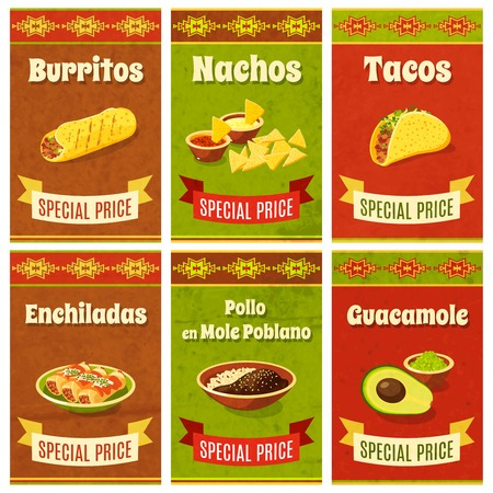 taco: Mexican food promo poster mini set with traditional meal and ingredients isolated vector illustration