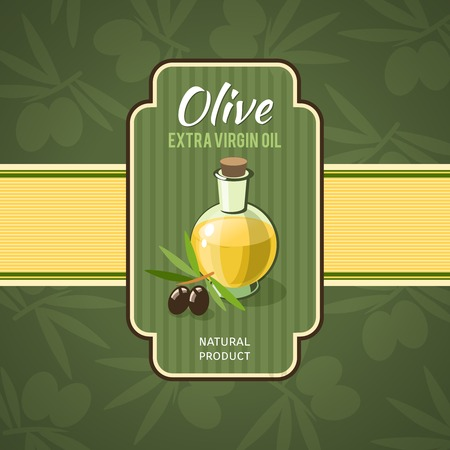 salad dressing: Olive oil badge with glass bottle and branches on background vector illustration Illustration