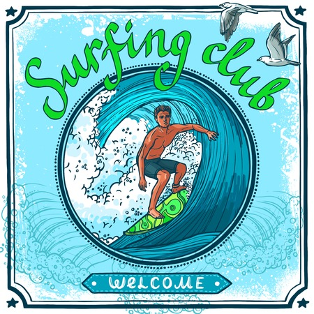 sport club: Surfing water sport club welcome advertisement poster for active vacation recreation and waves board riding vector illustration