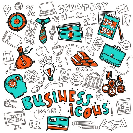exchange profit: Business strategy concept icons design with target profit graphic stock exchange money abstract doodle sketch vector illustration