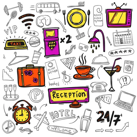 Hotel premium full service concept symbols of restaurant catering 24h tv facilities abstract doodle sketch  vector illustration Illustration