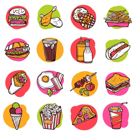 junk: Fast junk food hand drawn decorative colored icon set isolated vector illustration Illustration