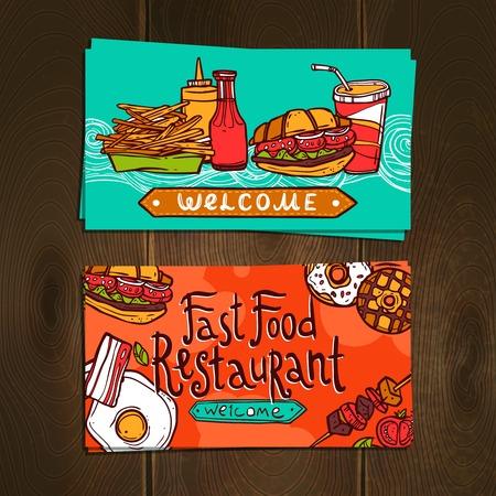 junk food fast food: Fast food restaurant sketch flyer cards set isolated on wooden background vector illustration