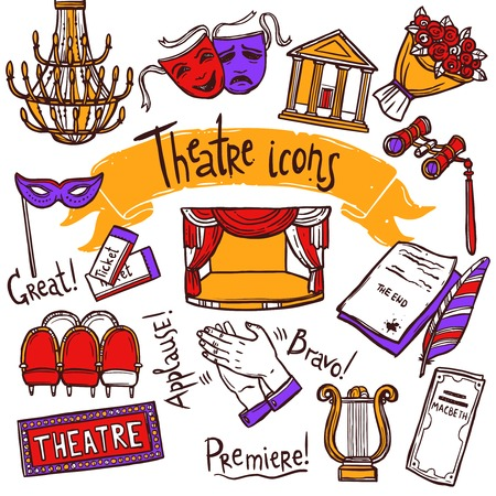 Theater performance decorative icons sketch set with mask applause flowers isolated vector illustration