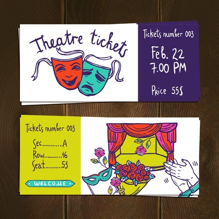 comedy show: Theater premiere stage performance hand drawn ticket set isolated vector illustration Illustration