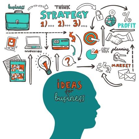 Business strategie schets concept met menselijk hoofd en de markt ideeën iconen vector illustratie