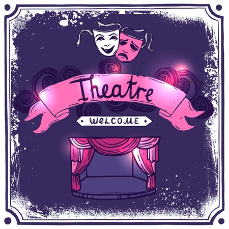 Theater performance promo poster sketch with masks stage curtain and ribbon banner vector illustration Çizim