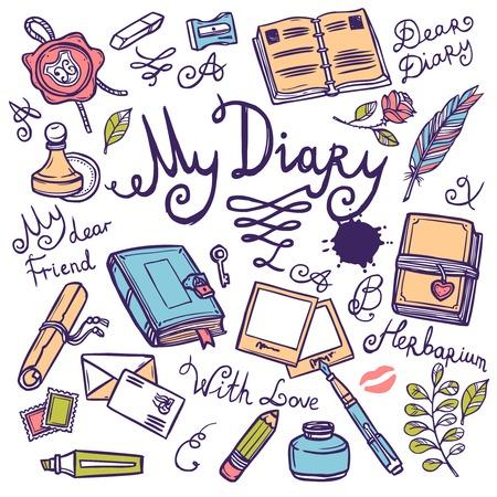 Scrapbooking disegnato scrittura Diario strumento mano impostata con penna notebook illustrazione inchiostro vettoriale Vettoriali