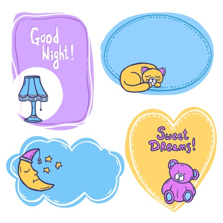 restful: Sleep time frames set with sketch decorative elements isolated vector illustration