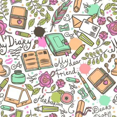diary cover design: Diary hand drawn seamless pattern with herbarium love letter and scrapbooking art vector illustration