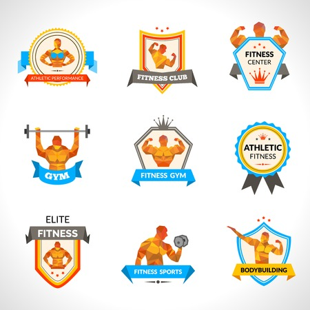 Bodybuilding sport fitness training and workout emblems set isolated vector illustration Ilustração