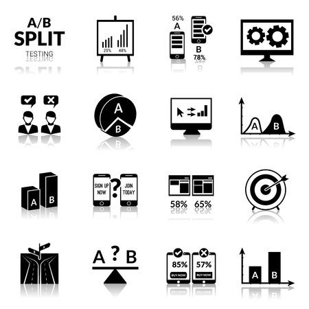 icono computadora: Ab experimento dividida pruebas iconos negros conjunto aislado ilustraci�n vectorial