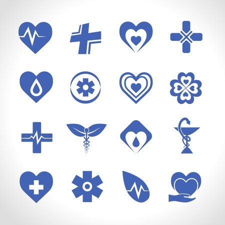 medical computer: Medical ambulance emergency symbols logo icons blue set isolated vector illustration Illustration