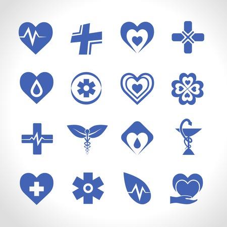 Medical ambulance emergency symbols logo icons blue set isolated vector illustration Illustration