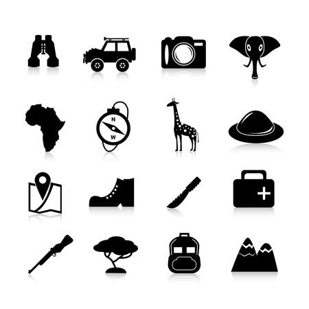 animales de la selva: Iconos safari y viajes de la selva conjunto negro con aislados pioneros binoculares sombrero jirafa ilustraci�n vectorial