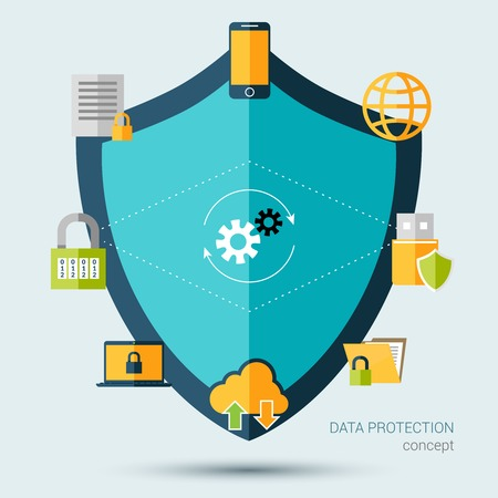 seguridad social: Concepto de protecci�n de datos con la ilustraci�n de escudo y la seguridad de la informaci�n vectorial s�mbolos
