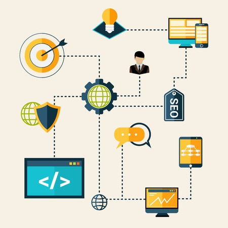 network design: Seo technical analytics research and optimization process flowchart vector illustration