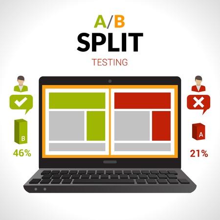 노트북 컴퓨터 벡터 일러스트와 함께 분할 테스트 AB 비교 개념 일러스트