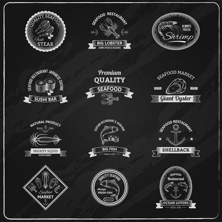 Weinlese-Meeres Abzeichen Tafel mit Sushi Hummer Garnelen Austern isolierten Vektor-Illustration gesetzt Standard-Bild - 36520312