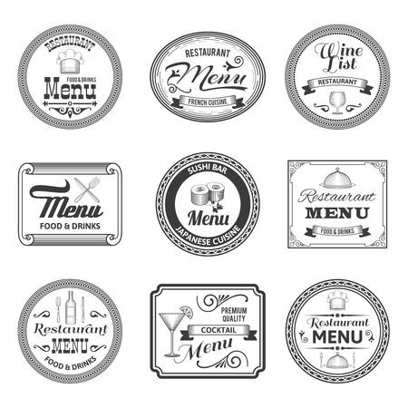 Retro restaurant cocktail sushi bar menu labels set isolated vector illustration Vector