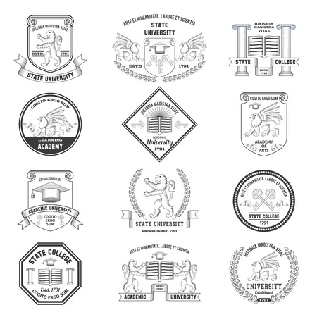 college education: University labels crests sheilds and insignias set with lion griffin and graduation hat education symbols isolated vector illustration
