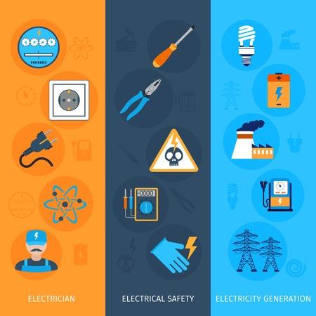 electricidad industrial: Electricidad plana banners verticales fijados con elementos electricista generaci�n seguridad el�ctrica aislada ilustraci�n vectorial