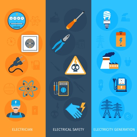 electrical equipment: Electricity flat vertical banners set with electrician electrical safety generation elements isolated vector illustration
