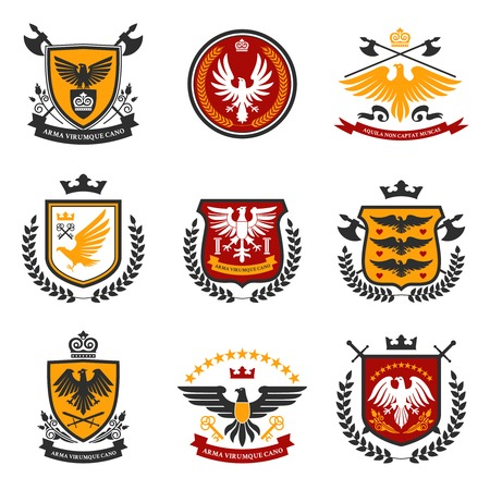 shield set: Heraldic emblems and shield set with eagle birds isolated vector illustration