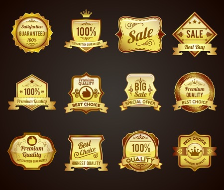 satisfaction guaranteed: Golden crown highest quality labels collection icons satisfaction guaranteed for vip customers abstract graphic vector isolated illustration