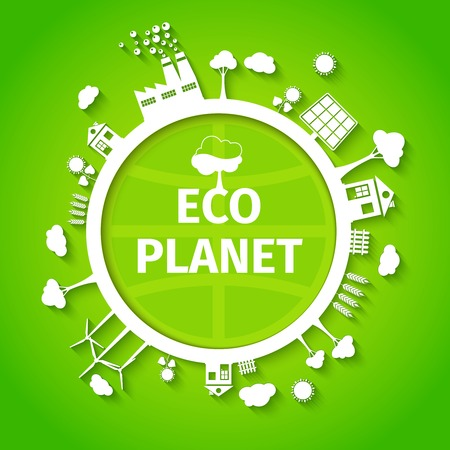 eco power: Save nature decorative eco planet clean energy sources solution symbols green background poster print abstract vector illustration Illustration