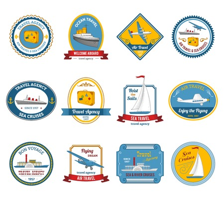 luxury travel: Luxury yacht sea sail dream cruise vacation travel agency offer color icons set abstract isolated vector illustration
