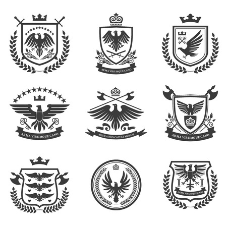 Eagle heraldry coat of arms emblems shield icons set with spread wings black isolated abstract vector illustration Ilustrace