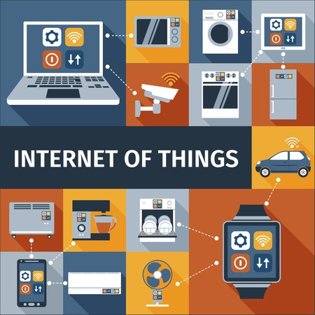 Internet of things computer en slimme horloge afstandsbediening vlakke pictogrammen samenstelling poster abstract geïsoleerde vector illustratie