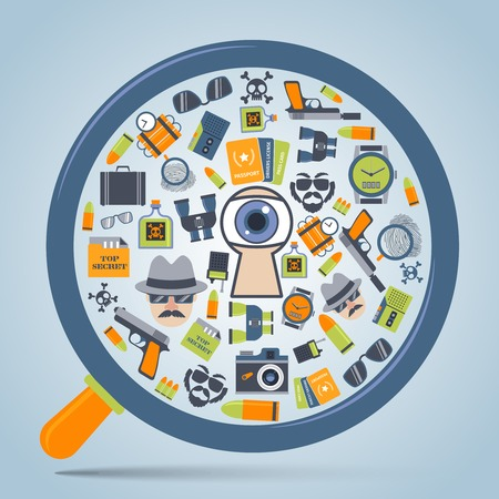 secret service: Spy secret service gadgets concept in magnifier glass form with camera icon poster print abstract vector illustration