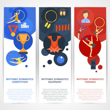Rhythmics gymnastics vertical banners flat set with competition equipment training elements isolated vector illustration