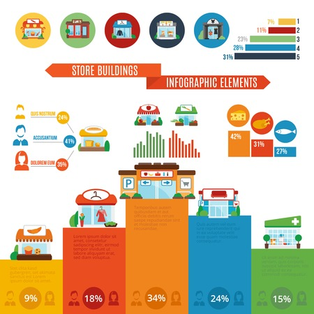 shop local: Grocery store boutique building restaurants infographic elements with charts vector illustration